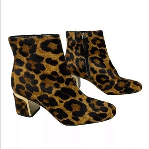 DKNY Corrie Calf Hair Leopard Booties Heel Ankle